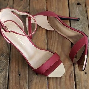 Cranberry heels with gold plate